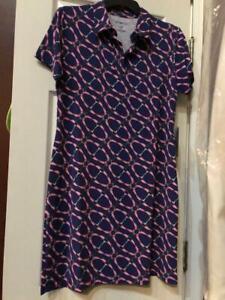 NWT Ladies IBKUL Bitty Navy Blue & Pink Short Sleeve Golf Dress sizes M & L