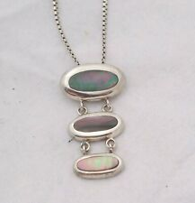 Pendant with Chain Stunning Minimalist Design Vintage 925 Silver & Abalone Shell