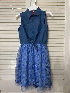 Liberty Valor Girls Sleeveless Dress Denim, Blue Floral Print Size 10-12
