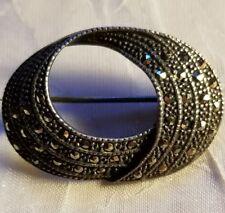 Marcasite Brooch Pin Vintage Sterling Silver