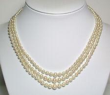 AAA Vintage triple 3-7.8mm Akoya saltwater pearl, 9ct gold & amethyst necklace
