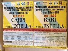 2 LOCANDINE MANIFESTO STADIO CALCIO VIRTUS ENTELLA VS. CARPI E BARI 2017