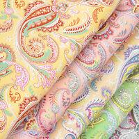 Cotton Fabric per FQ Vintage Paisley Retro Floral Dress Quilting FabricTime VK58