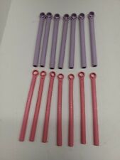 14 Conair Hot Sticks Flexible Hair Curlers 2 Sizes Pink Purple Replacement Lot