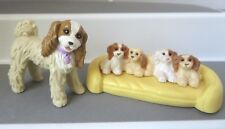 Fisher Price loving Family Cocker Spaniel mom DOG & Puppies w/ Bed lot