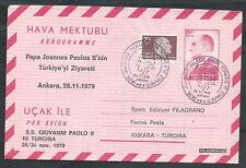 1979 VATICANO VIAGGI DEL PAPA AEROGRAMMA TURCHIA ANKARA - EV