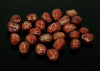 Red Jasper Stone Rune Set Symbols Gemstone Healing Crystal Runes 25 Pieces 10 Mm