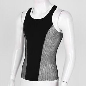 Men Vest Tank Sport Tops Mesh Patchwork Sleeveless T shirt Fitness Muscle Tee M