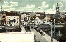 Spandau Berlin um 1900 Tram Straßenbahn passiert Charlottenbrücke mit Lindenufer