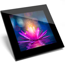 1 x Cool Magic Lotus Flower Lily Pink Glass Coaster - Kitchen Student Gift #2066