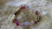 "Pink Clear Faceted Crystal JO Name Bead Silvertone Toggle Clasp 7"" Bracelet"