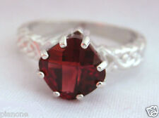 2.5 Carat Red Garnet 8mm Cushion Cut Sterling Silver .925 Sizeable