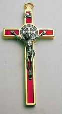 """St Benedict Crucifix 24kt Gold Plate Enamel - Red 4.5"""""""