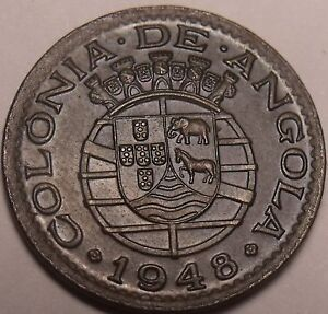 Rare Unc Angola 1948 20 Centavos~300th Anniversary Of The Revolution~Free Ship