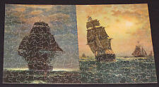 "VTG JIGSAW PUZZLE PERFECT DOUBLE PICTURE ""MIDNIGHT WATCH"" ""SEA GULL"" SHIPS CIB"