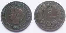 5 Centimes Cérès, 1875 A, TTB et rare !!