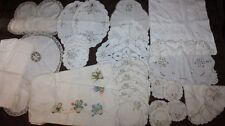 Job Lot Vintage Tablecloths Linen Placemats Embroidered Tablecloth Doily - Props