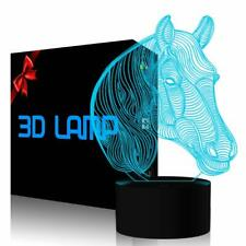 3D Illusion Lamp Horse Led Night Light, 7 Colours Flashing Touch Switch Bedroom