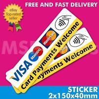 2x Contactless Card Payments Visa Credit Card Sticker Printed Vinyl Shop Taxi