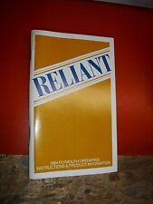 1984 Plymouth Reliant Original Factory Operators Owners Manual Glove Box