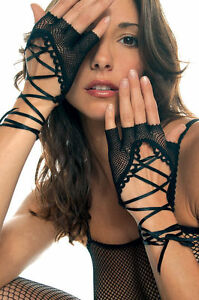 Black White or Red Fishnet Fingerless Lace Up Womens Gloves Sexy Lingerie P413