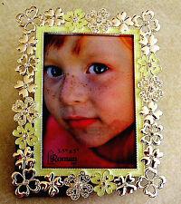 """NEW Enamel & Jeweled 3.5"""" x 5"""" Metal Photo Frame- Heart Shaped Clovers"""