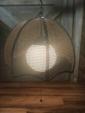 Vintage Plug 🔌 Shabby Chic Wicker Rattan hanging Ceiling Light Chandelier Lamp