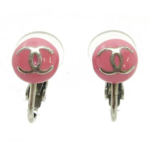 CHANEL CC Logos Micro Button Motif Earrings Pink Clip-On 03C Accessories 32099