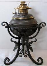 Antique Bradley & Hubbard Gwtw Oil Kerosene Ornate Wrought Iron Banquet Lamp B&H