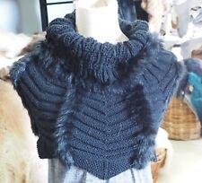Shawl - A Wonderful Black Elasticized Shoulder Shawl - Trimmed with Rabbit Fur