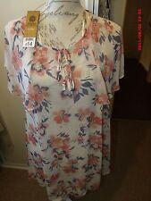 Barbara Hulanicki Crema superior/vestido con estampado floral Talla 12