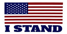 "Wholesale Lot of 6 USA American Flag ""I Stand"" White Bumper Sticker"