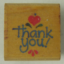 Stampendous Rubber Stamp Country Thank You A090 Heart 1994 Wood Mounted