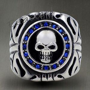 Mens Sapphire Blue CZs Skull 316L Stainless Steel Biker Ring