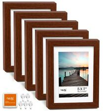 """Cavepop 5x7"""" Matted to Display 4x6"""" Picture Frame 5 Piece Set - Walnut Wood"""