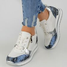 Damen Schuhe Sneaker Weiß Blau Plateau Glitzer Sport Freizeitschuhe Keilabsatz