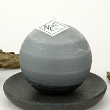 "Gray Ball Candle 3"" - Rustic Grey Sphere - Striped Round Pillar by Nordic Candle"