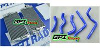 R&L aluminum Radiator + blue HOSE Honda CR125 CR125R CR 125R 02 - 03 2002 2003