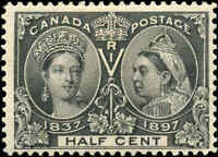 1897 Mint H Canada 1/2c F+ Scott #50 Diamond Jubilee Issue Stamp