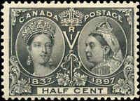 1897 Mint Canada 1/2c F+ Scott #50 Diamond Jubilee Issue Stamp Hinged
