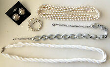 Vintage Costume Jewelry Lot Earrings White Shell Necklace Brooch SilverTone Coro