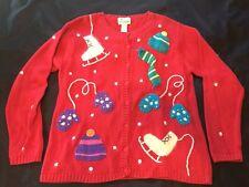 Quacker Factory Christmas Sweater M Cardigan Ice Skates Medium