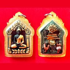 LAP16 Triangular 3 Sitting Buddhas Amulet Pendant From Thailand