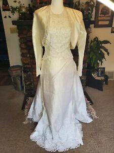 Demetrios Wedding Dress White Silk Sz 8 NWT
