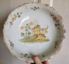 Saladier jatte faience XVIII-XIXéme décor maison verte La rochelle Nevers ?
