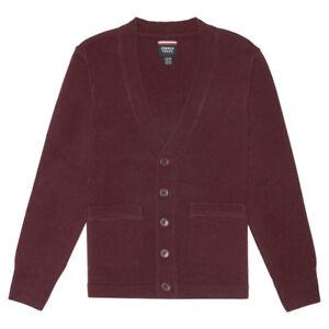 Kids Burgundy Sweater V-Neck Cardigan French Toast School Uniform Size XS to 2XL