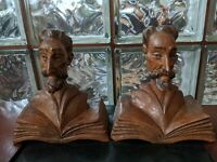 """RARE version! Vintage mid century Ouro DON QUIXOTE 8"""" carved wooden bookends!"""
