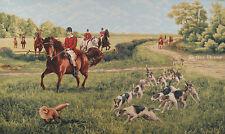 "50"" WALL JACQUARD WOVEN TAPESTRY Fox Hunting EUROPEAN DECOR - HORSES & DOGS"