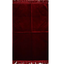 Modefa Turkish Islamic Prayer Rug Janamaz Sejadah Plush Velvet Solid Red
