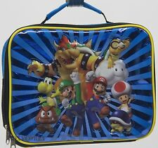 Super Mario Bros & Friends Black & Blue Insulated Lunch Bag Tote 7X9X3 NWT